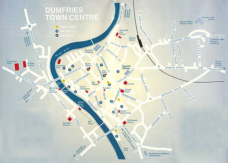 Map of Dumfries town centre